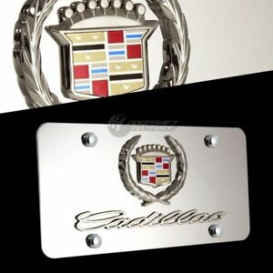 NEW 3D CADILLAC Logo Front Mirror Stainless Steel License Plate Frame with Caps