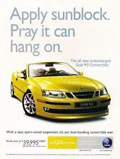 2004 SAAB 9-3 93 Convertible -  Original Advertisement Print Art Car Ad J561