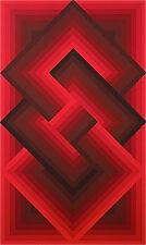 "Peters, Jürgen, ""Red Composition"" signed 1976 Op-Art, Geometrical Composition,"