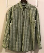 ARIAT Mens Sz M  GREEN White Plaid Western LS Long Sleeved Shirt