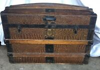 Vintage antique Large Domed Steel and lined Chest 76cm x 54cm x 44cm