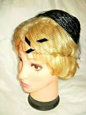 VINTAGE BLACK HAT SALLY VICTOR Side Combs Cellophane Straw '50s Women Millinery