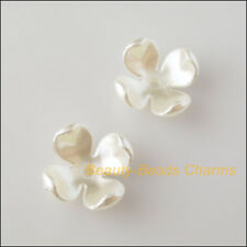 20 New Charms Acrylic Plastic Flower Star Spacer End Beads Caps White 14mm