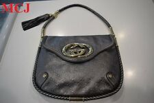 "'Very Good Condition"" Gucci Guccissima Small Britt Tassel Shoulder Bag Silver"