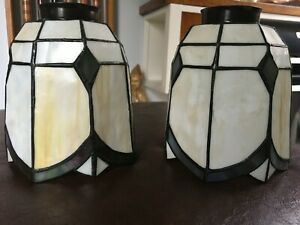 Vintage Tiffany Style Stained Glass  Lamp Shades/Globes Set of 2