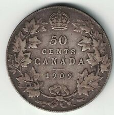 CANADA 1909 50 CENTS HALF DOLLAR KING EDWARD VII STERLING SILVER CANADIAN COIN