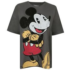 Disney Women's - Mickey Happy - Slouch T-Shirt - Charcoal Grey