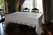 """72""""x108"""" Large Embroidered Tablecloth Forest Leaves Cutwork Design Home Decor"""