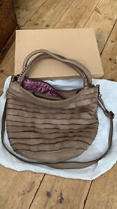 Caterina Lucchi Leather Bag Butter Soft Taupe Slouch Messenger Handbag