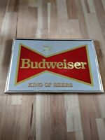Rare BUDWEISER BEER ANHEUSER BUSCH MIRRORED WOOD FRAME PICTURE BAR SIGN 25x18