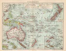 B6365 Oceania - Carta geografica antica del 1903 - Old map