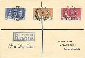 NORTHERN RHODESIA 1937 CORONATION OF KGVI ON FDC TO CLARK OF VICTORIA FALLS