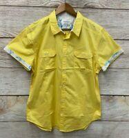Shirt Paper Denim & Cloth Mens  XLarge Yellow Slim Fit Stretch Button Down New