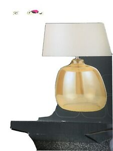 B&Q Alphie champagne glass coloured Table Lamp Glass