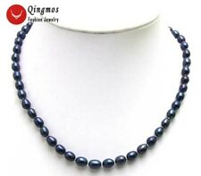 """7-8mm Black Rice Shape Natural FW Pearl Necklace for Women Jewelry 17"""" nec5591"""