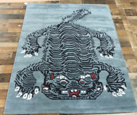 5'x7' Brand New fine Tiger design 100% wool black Modern Oriental area rug