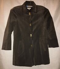 WOMEN'S M, GENUINE LEATHER, GREEN, CAPE COAT BY TALBOTS!