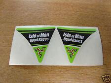 Isle of man road races-tt visière corner decal autocollant-vert