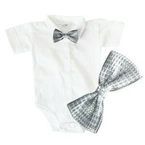 Baby Boys Bodysuit Shirt SILVER BOW Outfit Special Occasion Christening Wedding