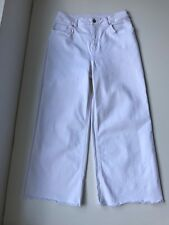 "Saba ""Kelly Crop"" Cotton Blend High Rise Wide Crop in White Jeans, Size W 26"