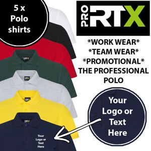 5 x Embroidered Text or Logo Personalised custom Branded Polo Workwear Shirt Top
