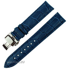 Blue Wristwatch WatchBand Crocodile Grain Leather Strap Silver Push Buckle