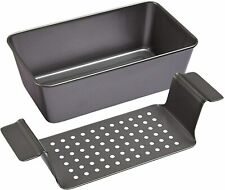 Chicago Metallic Professional Healthy Meatloaf Pan with Insert, 2-Piece Set Gray