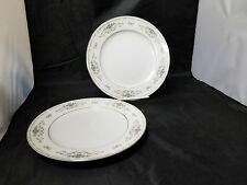 Wade Fine Porcelain China Diane Dinner Plates: Set of 2, White, Blue Flowers