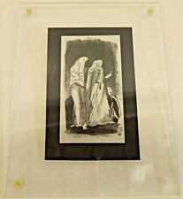 Original Vintage Lucite Framed Pen & Ink Drawing Female Figures Signed E. Gibbel