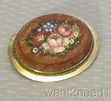 Victorian PIETRA DURA BROOCH Italian goldstone aventurine floral inlay mosaic
