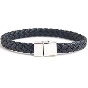 Armband Kunst Leder Schwarz Silber Kunstlederarmband Geflochten Magnetverschluss
