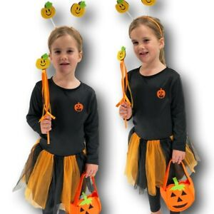Girls Pumpkin Costume Halloween Toddler Child Jack O Lantern Cute Fancy Dress