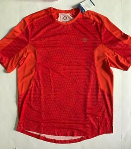 New WITHOUT WALLS Mens Red Orange Geo Workout Gym Sport Fitness Tee L Free Ship