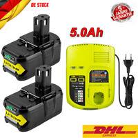 2X Für Ryobi Akku 18 V 5,0Ah Lithium ONE Plus P108 Batterie RB18L50 OR Ladegerät