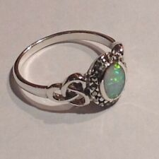 Antique Victorian style Celtic Fire & Ice Opal Marcasite Ring Sterling Silver P