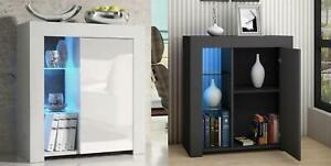 Matt & High Gloss White/Black Cabinet Cupboard Sideboard Unit LED Light