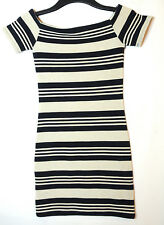 GREY NAVY STRIPED LADIES CASUAL PARTY MINI DRESS SIZE 4 PETITE TOPSHOP STRETCHY