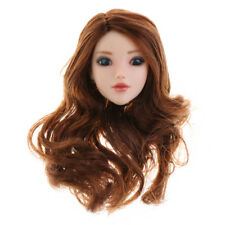 1/6 Female Head Sculpt with Brown Curly Hair For Hot Toys Phicen Kumik Body
