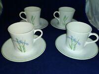 "4 each Corelle Iris Shadow Cups 3 1/2""  Saucers  USA EUC"