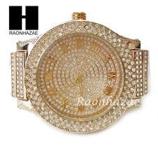Men's Hip Hop Iced Out 14K Gold PT Bling Lab Diamond Techno King Rapper Watch L3