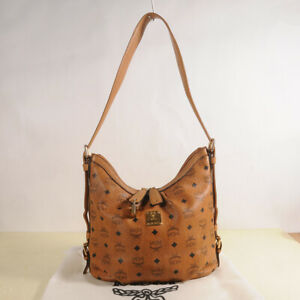 Authentic MCM Visetos Hobo Medium Shoulder Bag +Dust Cover