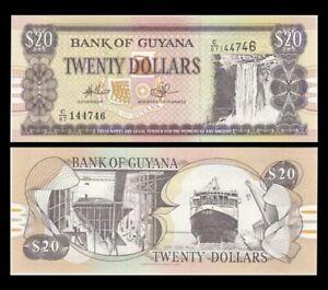 GUYANA 20 Dollars, 2018, P-30, Kaieteur Falls/ Malali Ferry, UNC World Currency