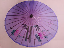 Vintage Oriental Umbrella Purple Silk & Bamboo Parasol Asian Chinese Japanese