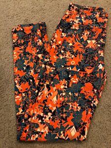 LuLaRoe GOLD FLOWERS Fire Orange Teal Blue Leggings OS One Size UNICORN NeW