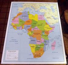 OBJET DE MÉTIER CARTE SCOLAIRE ROSSIGNOL AFRIQUE  POLITIQUE  116 x 93cm
