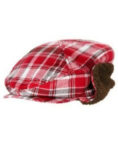 GYMBOREE GINGERBREAD BOY RED PLAID LINED DRIVING CAP HAT 0 3 6 12 18 24 NWT