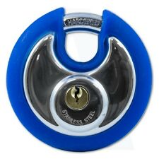Asec Coloured Discus Padlock Chrome Plated with Blue Bumper 2 Keys AS10473