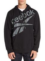 Reebok Men's Trailer Hoodie Pullover Sweatshirt Black Fleece Size Medium Large