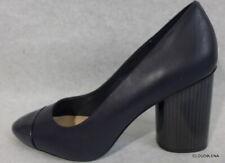 New NINE WEST Size 10M Dark Blue Soft Leather Striped Chanky Heel CITABELLO Pump