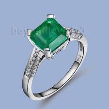 Engagement Princess 6.5mm Solid 14kt White Gold Diamond Emerald Gemstone Ring